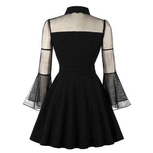 Plus Size Women Gothic Sexy Mini Dress Autumn Black Mesh Patchwork See-Through Flare Sleeve Draped Elegant Party Dress
