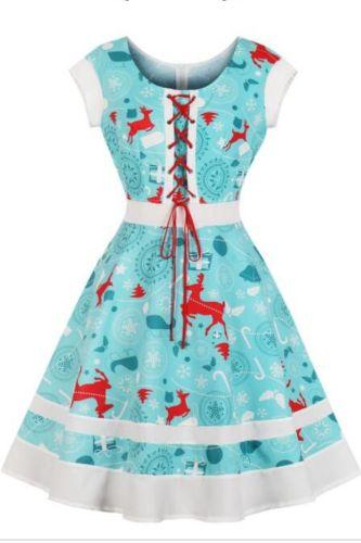 New Arrival Christmas Dress Elk Print O Neck Short Sleeve Knee-length Women's Dresses Casual Party Elegant Retro Dresses