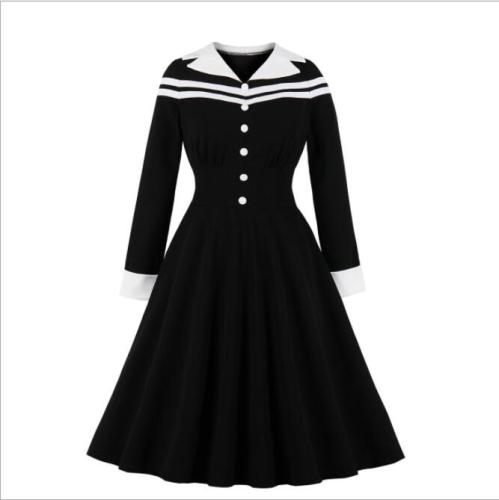 Autumn Long Sleeve Black Dress Elegant Women Button Front Contrast Notched Neck Stripe Midi Swing Vintage Dresses
