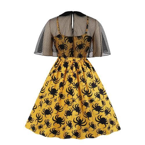 2021 Summer New Net Gauze Print Dress Women's Waist Big Size Party Temperament Dress Lapel Fashion Sexy Elegant Black Dress