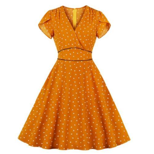 Tonval Orange High Waist Little Heart Print Summer Dress Women Clothes V Neck Pocket Side Office Lady Dresses