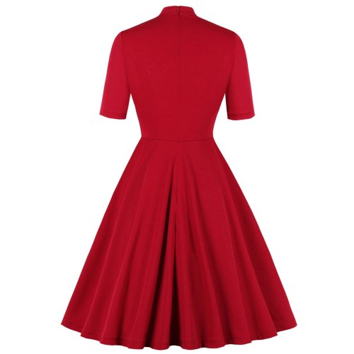 Retro Vintage Red Rockabilly 50s Casual Dresses Cotton 2021 Short Sleeve Bow Neck Solid Color Office OL Work Summer Swing