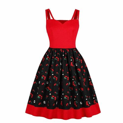 2021 Spring New Fashion Women's Explosion Temperament Waist Retro Print Sling Big Swing Dress