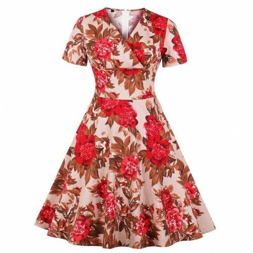 Women Summer Short Sleeves V-neck Vintage Dresses Sweet Elegant Office Lady Aline Zipper Floral Print Female Fashion Retro Dress