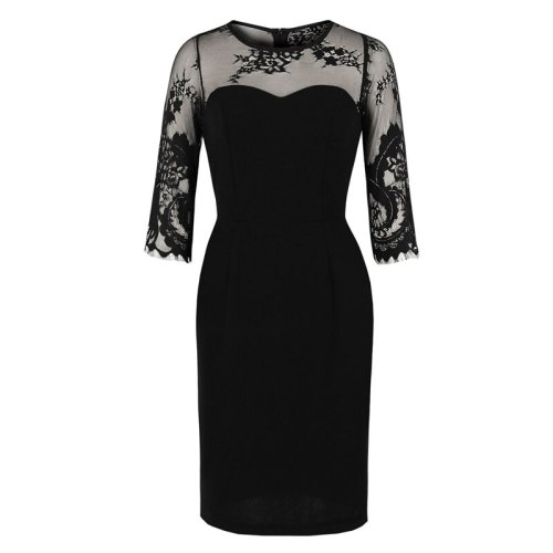 Black Workwear Contrast Lace Office Lady Bodycon Pencil Dress Women Autumn 3/4 Length Sleeve Slim Fitted Sheath Dresses