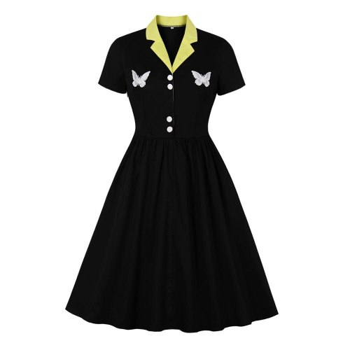 2021 New Short Sleeve 50s 60s Swing Retro Vintage Dress  Elegant Women Ladies Butterfly Embroidery Black Dress