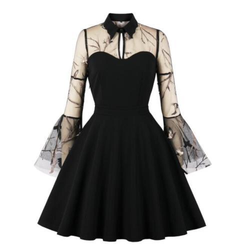 Tonval Turn-Down Collar Mesh Long Sleeve 3D Butterfly Vintage Mini Dress Spring Autumn Women Halloween Party Elegant Dresses