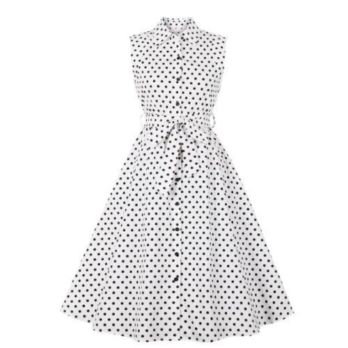 Tonval Turn Down Collar Single-Breasted Polka Dot Summer Cotton Shirt Dress Women 50s Rockabilly Vintage Sleeveless Midi Dresses