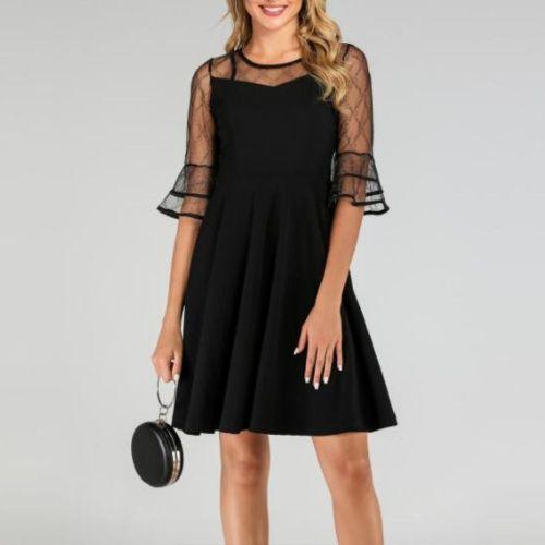 Dress Summer 2021 New Femininity Thin Mesh Stitching Trumpet Sleeve Small Dress Round Neck Five-Point Sleeve Elegant Retro Dress