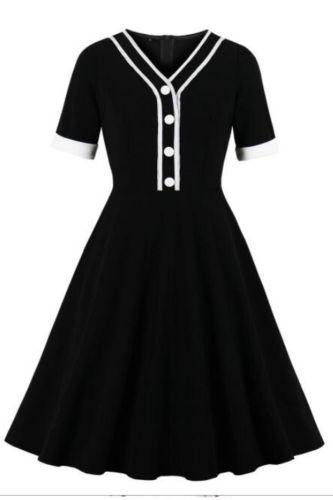 Women Little Black Dress  Sexy V Neck A Line Women Ladies Swing womens dresses robe femme Summer Dress