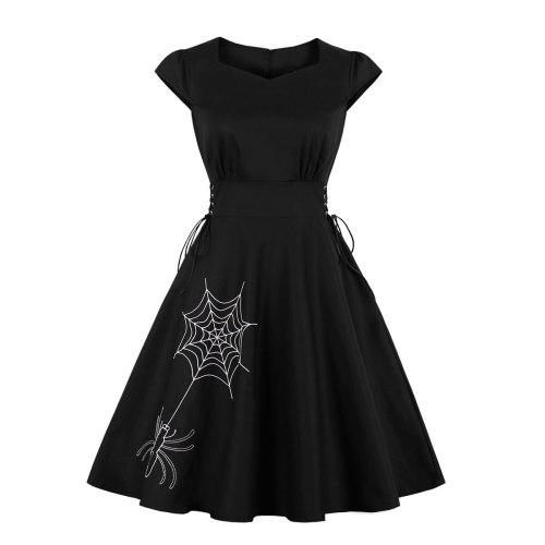 2021 Gothic Solid Animals Print Famale Dress Draw String Elastic Waist Black Color Vintage Retro Pinup Streetwear Swing Dress
