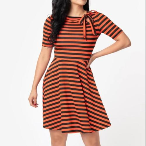 Tonval Vintage White and Black Striped Tie Neck Cut-out A Line Skater Dress Women 95% Cotton Short Sleeve Autumn Casual Dresses