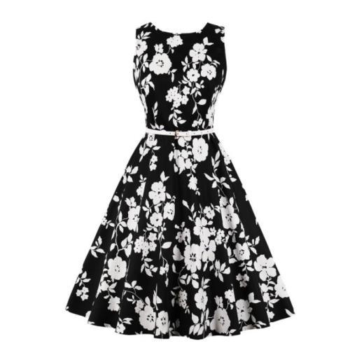 Woman dress summer Polka Dot Floral Flower Pineapple Sugar Skull Printed Vintage  pin up rockabilly party