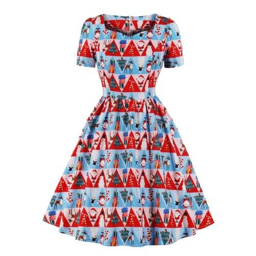 Women's Christmas Santa Claus Print Dress Short Sleeve Flared Party Dress