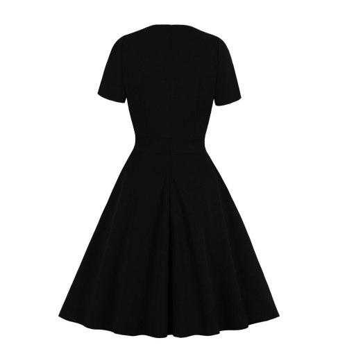 Vintage Lace Black Women Dress V Neck Short Sleeve Retro Women  Dresses Rockabilly Party Dress Swing Casual Dress