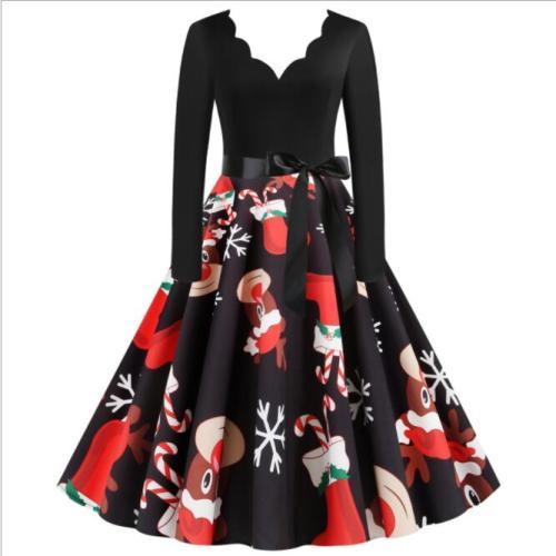 Plus Size Elegant Robe Printed Christmas Dress Floral Women Vintage Winter Casual Midi O Neck Party Dresses Long Sleeve Vestidos