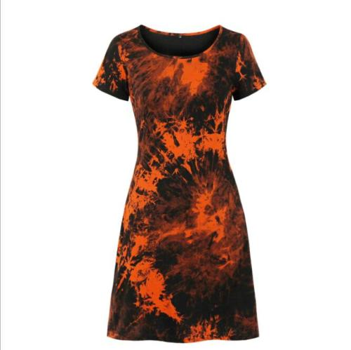 Fashion Tie Dye Dress Women Summer Clothes Short Sleeve Simple Design Holiday Party Casual Dress Streetwear