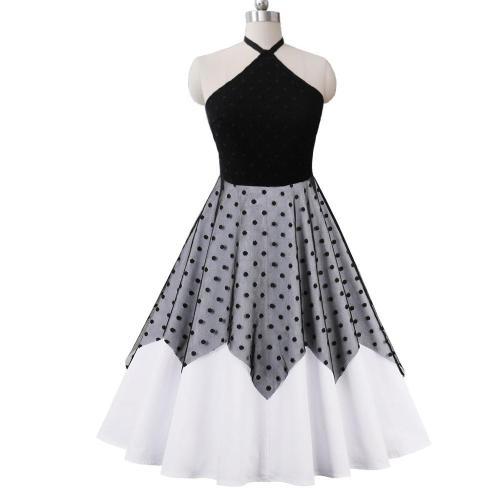 Sexy Black Halter Backness Dress Female Sleeveless Polk Dot Patchwork Cotton Vintage Evening Party Dresses
