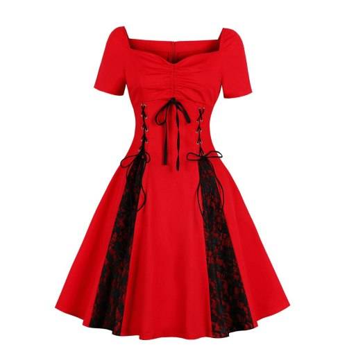 2021 Autumn and Winter  Gothic Style  Lace-up Sexy Off-Shoulder Large Size Women's Retro Dress for Women  Ball Gown Shirring