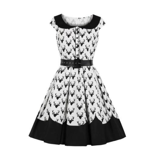 Big size Women Midi Dress Christmas 2021 Summer Elegant Vintage Deer Print Pleated Swing Retro Dresses Plus Size 3XL