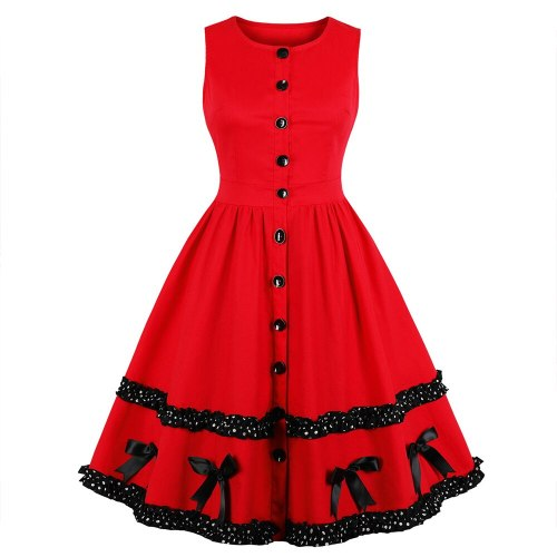 Clearance! Women Red Cotton Dress Sleeveless Patchwork with bow Elegant Women 50s Retro Vintage Dress Plus Size