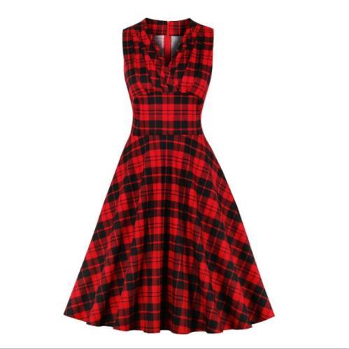 Tonval Women High Waist Red Plaid Vintage Ruched A Line Dress Female Sleeveless V-Neck Wrap Elegant Midi Dresses
