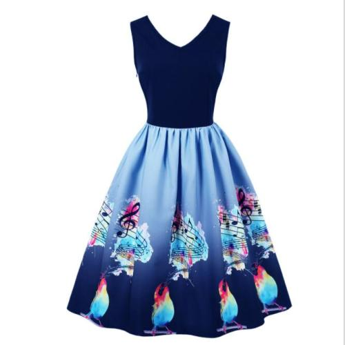 Audrey Hepburn Vintage Dress Black Color Octopus Print Summer Retro Dress Summer Plus Size Rockabilly  Vestidos