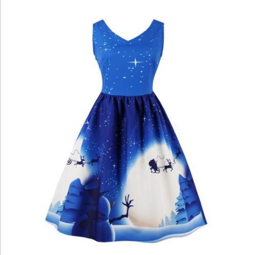 2021 Christmas Vintage Dress Women A-Line Retro Winter New Year Santa Print Party Dress Vestidos robe noel femme