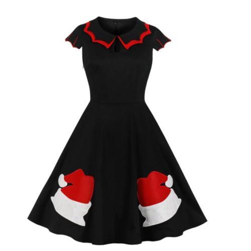 Tonval Black 50S Vintage Festival Gift Embroidery Elegant Christmas Dress Women Keyhole Cap Sleeve A Line Cotton Party Dresses