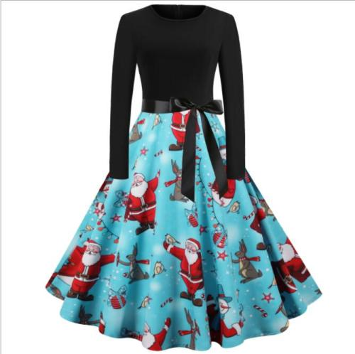 Tonval Black and Sky Blue Two Tone Elegant Vintage Christmas Clothes Women O-Neck Winter Party Belted A-Line Dress