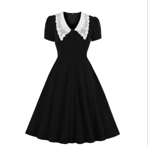 Tonval Lace Peter Pan Collar Single-Breasted Elegant Black Dresses for Women 2021 Vintage Rockabilly Robe Summer Dress