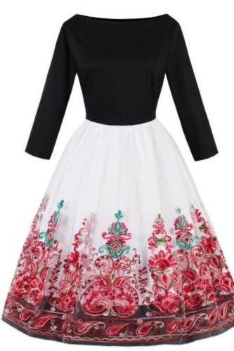 Ladies Vintage 50s Floral Swing Dress Sleeveless Cocktail Tea Dress
