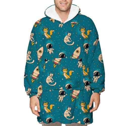 Oversized Blanket Hoodie With Sleeves Women Fleece Warm  Sweatshirts Giant TV Blanket Women Hoody