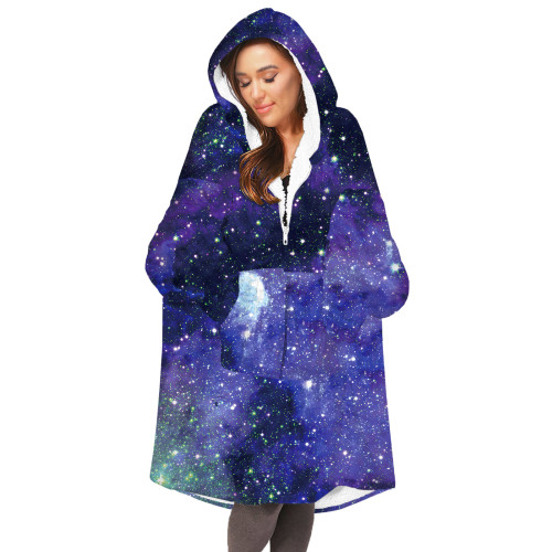 Phantasy Oversized Starry Sky Blanket Hoodies Fleece  Pullover Warm Loose  Hooded Sweatshirt Coat for Adult Kids
