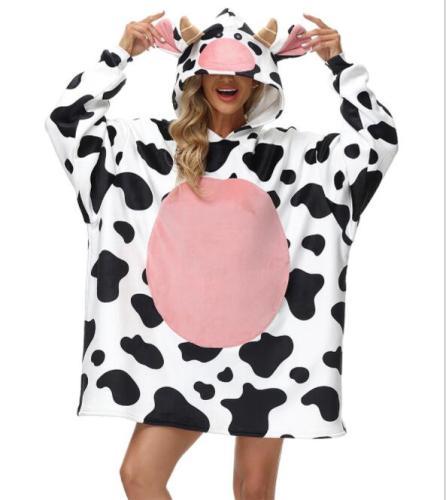 Wearable Blanket Hoodie Plush Fleece Comfy Blanket Hoodie Sweatshirt with Sleeves for Men and Women