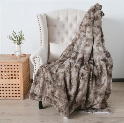 Fake Fur Single Sofa Blankets Tie Dye Plush Warm Fleece Blanket
