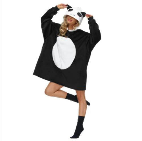 Women Oversized Wearable Blanket Hoodies Sweatshirt Super Soft  Sherpa Lining with Animal Ears and Warm Front Pocket