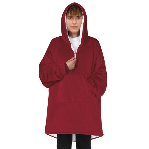 Fleece Blanket Hoodies Phantasy Women Men Autumn Winter Warm Pullover Zipper Hooded Couple Pajamas Solid Color Home Coat Clothes