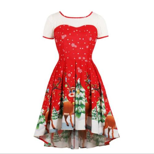 Christmas Costume for Women Fashion Christmas Print Lace Short Sleeve Vintage Gown Evening Party Dress Disfraces