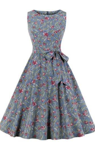 Tonval Tie Dye Print Sleeveless A Line Belted Summer Dress 2021 Women Round Neck Retro 50s Vintage Swing Dresses