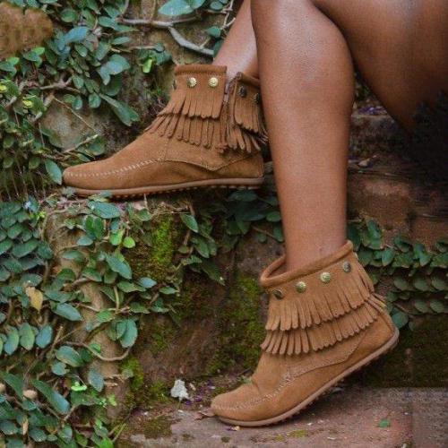 Tassel Suede Spring/fall Flat Heel Boots