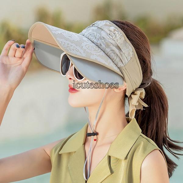 Women Sun Hat Retractable Empty Top Sun Hat Outdoor Cycling Big Beach Hat