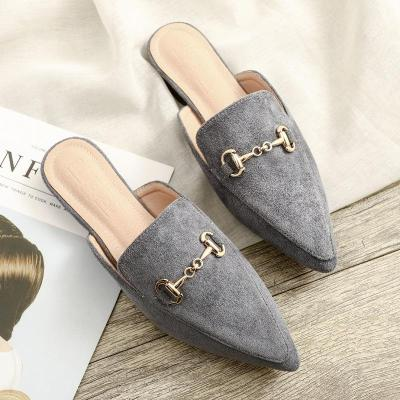 2020 Spring New Pointed Cool Slippers Women's Flat Outside Wearing Casual Muller Shoes