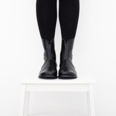 Simple Solid Pu Rubber Band Back-Zipper Mid-Calf Boots