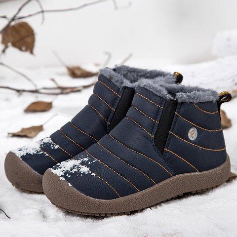 Women Large Size Waterproof Fur Lined Slip On Boots