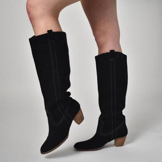 Black Suede Knee-High Chunky Heeled Boots
