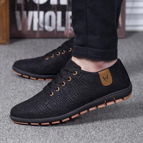 Men Low Lace-up Canvas Shoes