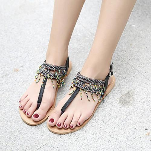 Bohemian Beaded Tassel Buckle Sandals