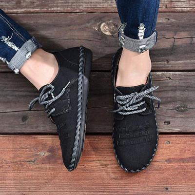 Men Casual British Style Lace-up Shoes Comfortable Round Toe Flat Shoes