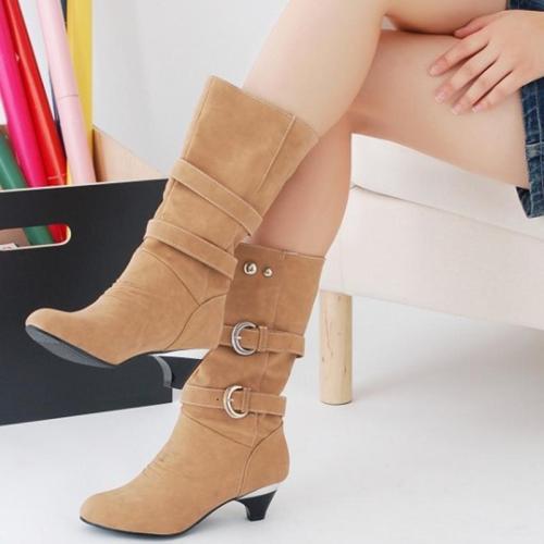 Women Casual Wedge Heel Buckle Boots